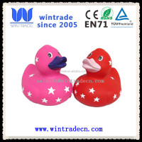 donggguan factory made star logo print pink/red float rubber ducky