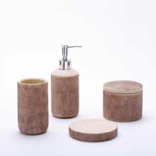 Modieuze Hotel Hout Bamboe <span class=keywords><strong>Badkamer</strong></span> Accessoires Keramische Luxe <span class=keywords><strong>Badkamer</strong></span> <span class=keywords><strong>Set</strong></span> 4 stuk