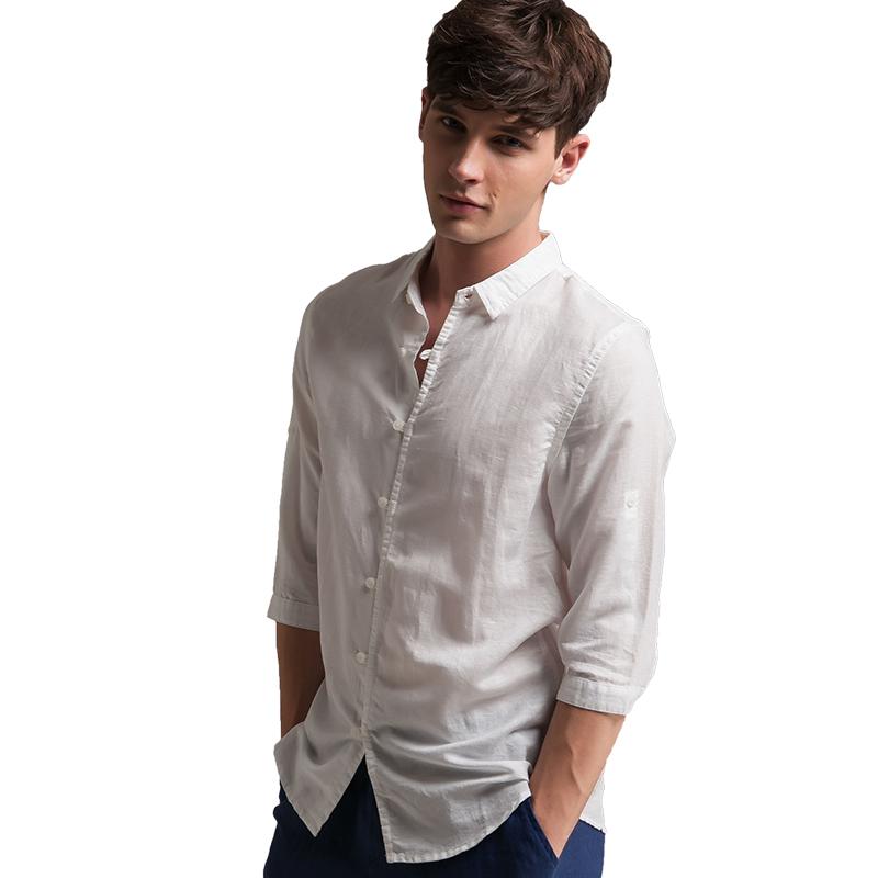 Compra blanco de lino camisas de los hombres online al por
