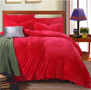 Wholesale Red Queen Size Bed 4 Piece Soft Micro Fleece sheet sets Flat,Fitted, Pillowcase