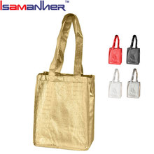 Metallizatin shopping luxury gift bags women easy metallic non-woven shoppers