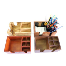 6-Compartment Wooden Straw Napkin Organizer Hazel Wood Bar Caddy