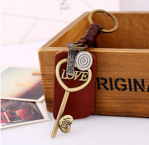 Vintage Copper Alloy Love Letters Key Model Keychains Men Genuine Leather Key Chain