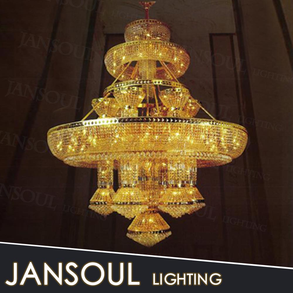 Custom church chandelier gold decoration light from zhongshan lighting factory