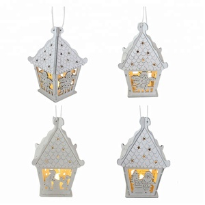 Wooden christmas LED lighted small house hanging ornaments xmas gifts for home mini house mould with angel /santa claus on door