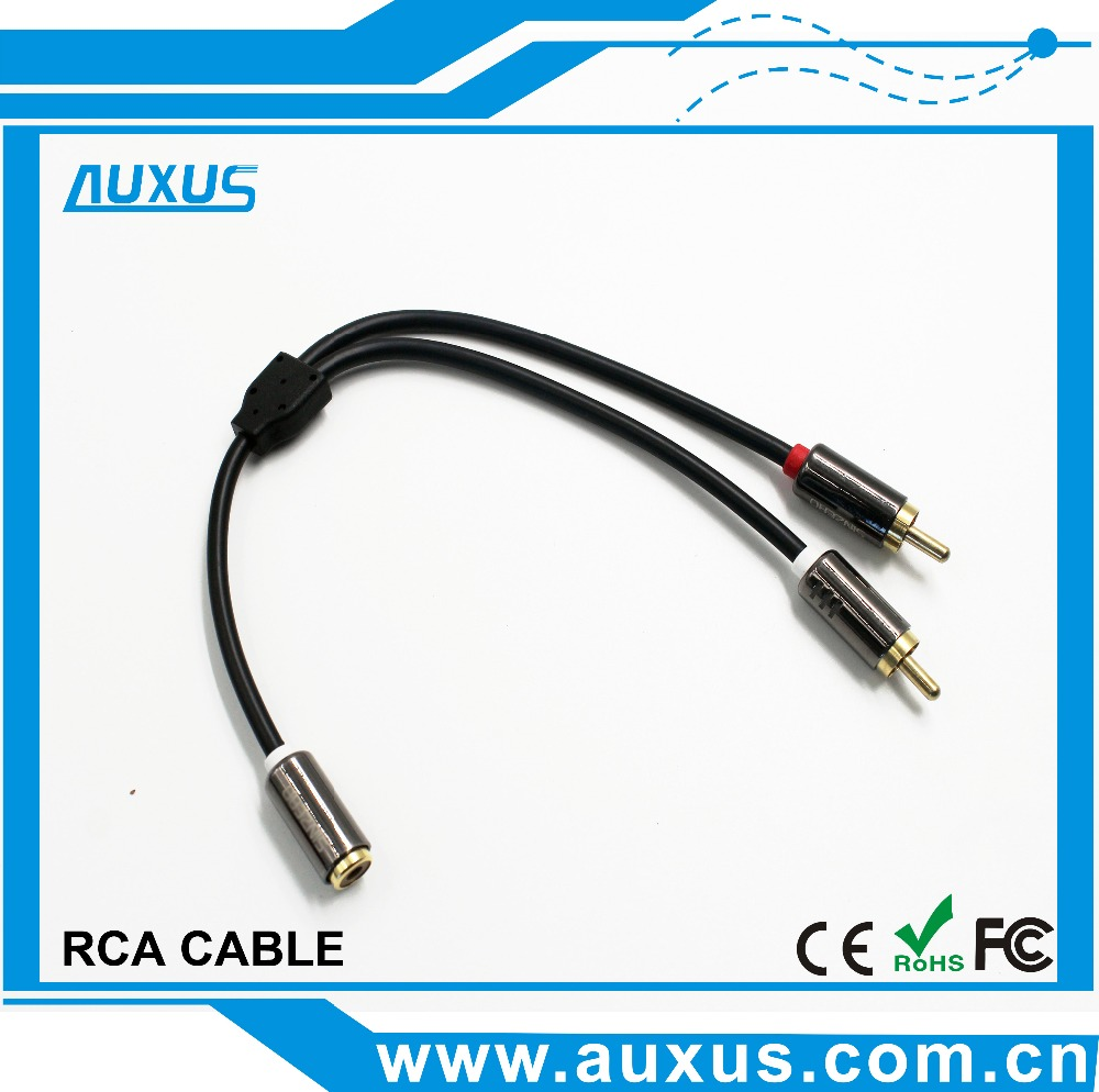 High quality 2 male RCA to 1 female cable y splitter phono cable for japan av video