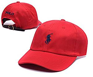 Polo Ralph Lauren Men's/Women's Classic Cap with Pony Logo Adjustable Sports Hat (color:green/red/white/black/brown) (red)