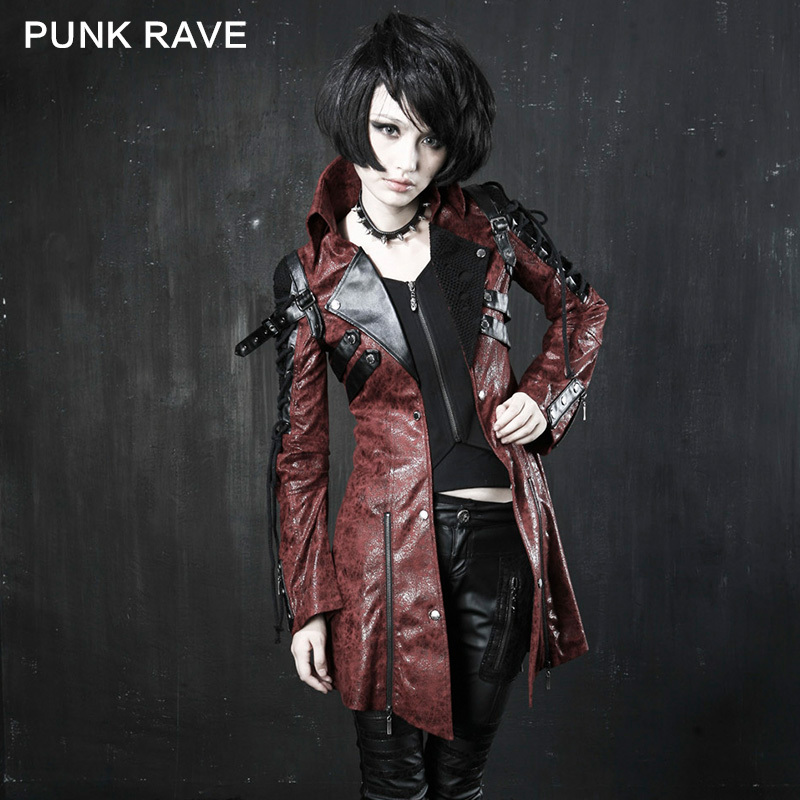 Y-349 Fashion Gothic/ Punk Leather Long Coat From Punkrave