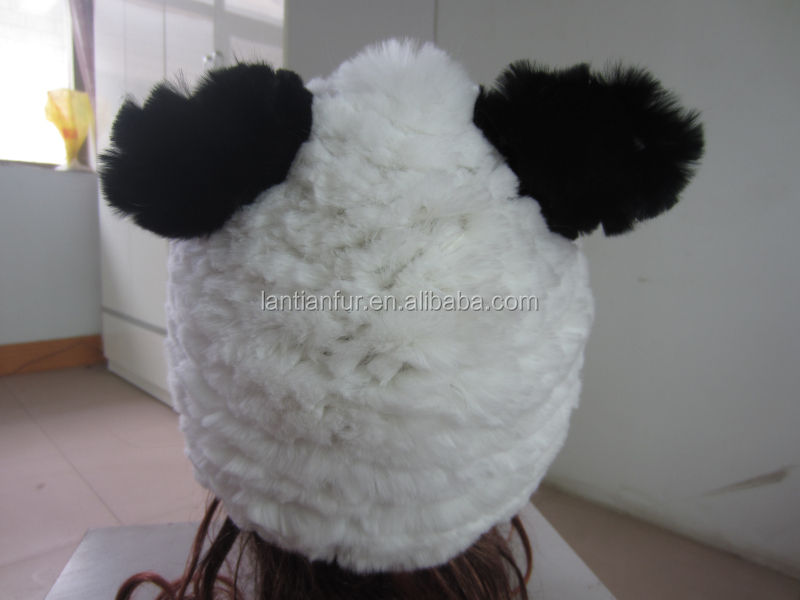 Besr seller Fashion Genuine Women's Animal cute design Mink Fur Hats Winter Flexible Multicolo