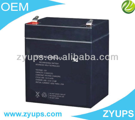 Black Deep Cycle Lead Acid Battery 12V 4.5AH VRLA Battery