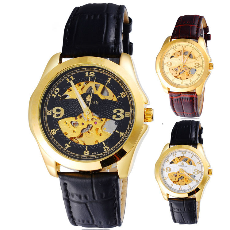 Classic dial design/Men's Luxury Watches/Genuine Leather Automatic hollow mechanical Mens Waterproof watch montre homme