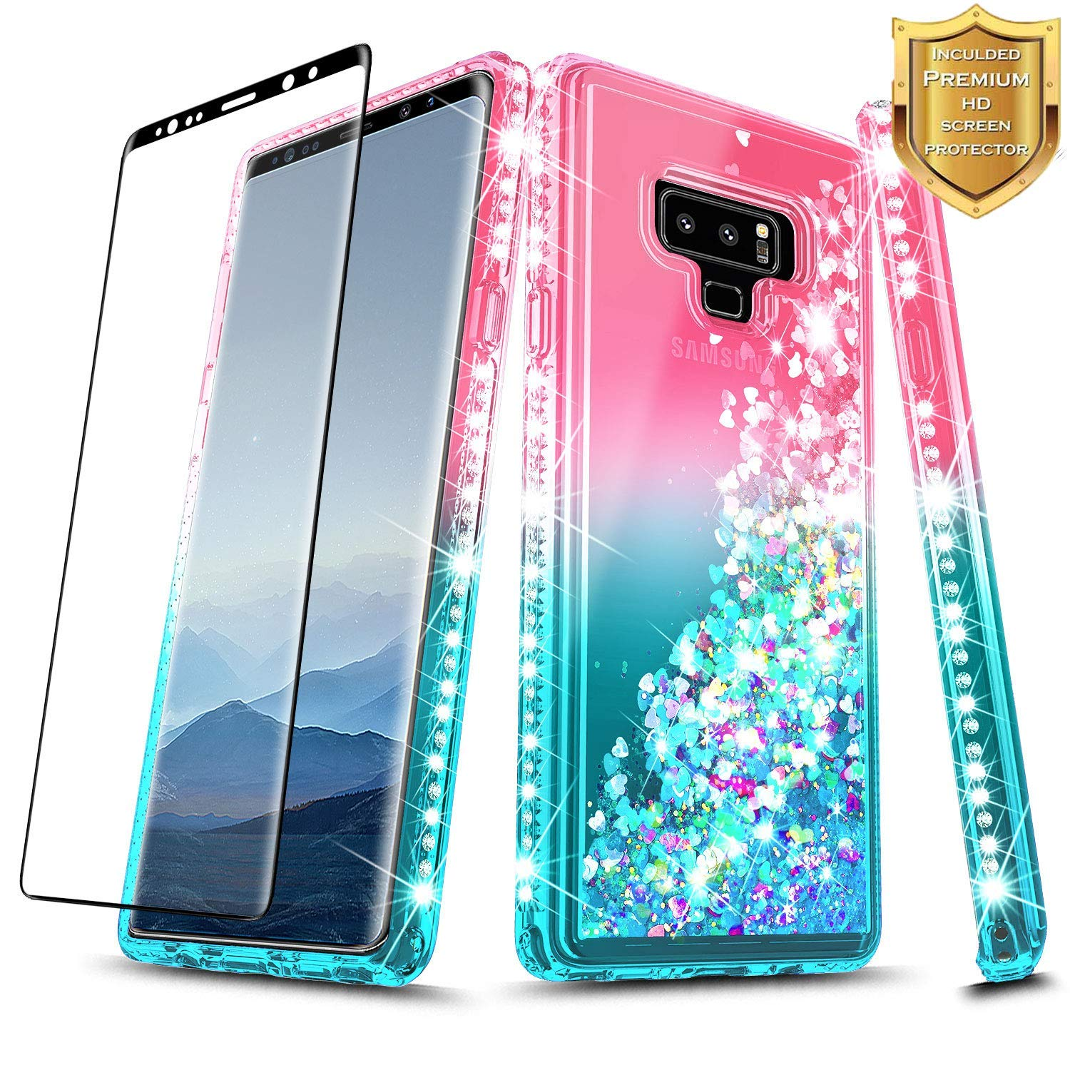 NageBee Glitter Case Compatible with Samsung Galaxy Note 9 w/[Full Cover Screen Protector 3D PET] Liquid Quicksand Waterfall Floating Flowing Sparkle Shiny Bling Diamond Girls Cute Case -Pink/Aqua