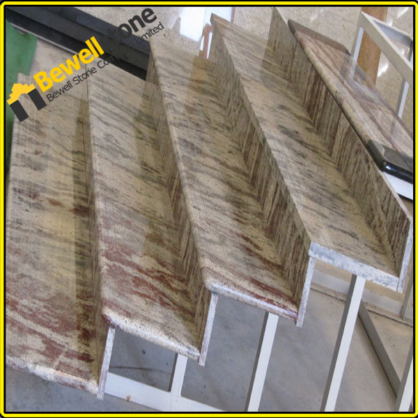 Precut Natural Stone Outdoor Stair TreadLandscape White Marble