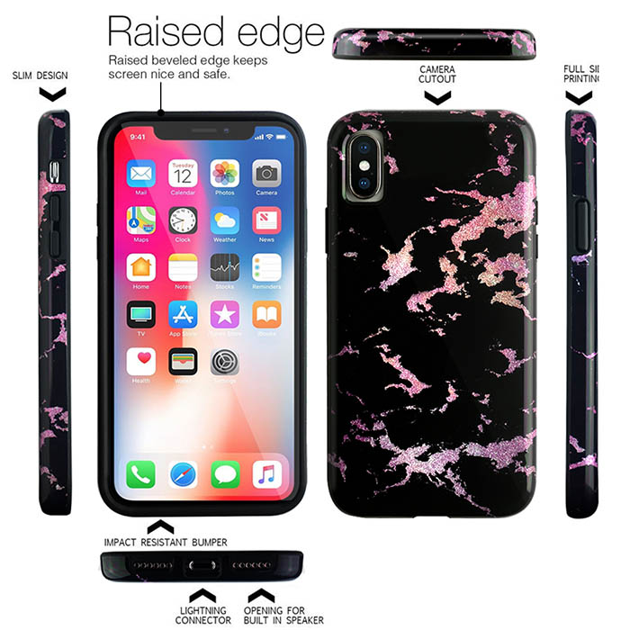 Custom I X Mobile Back Cover Flash Powder Oem Imd Tpu Marble Phone Shell Case For Iphone X Case