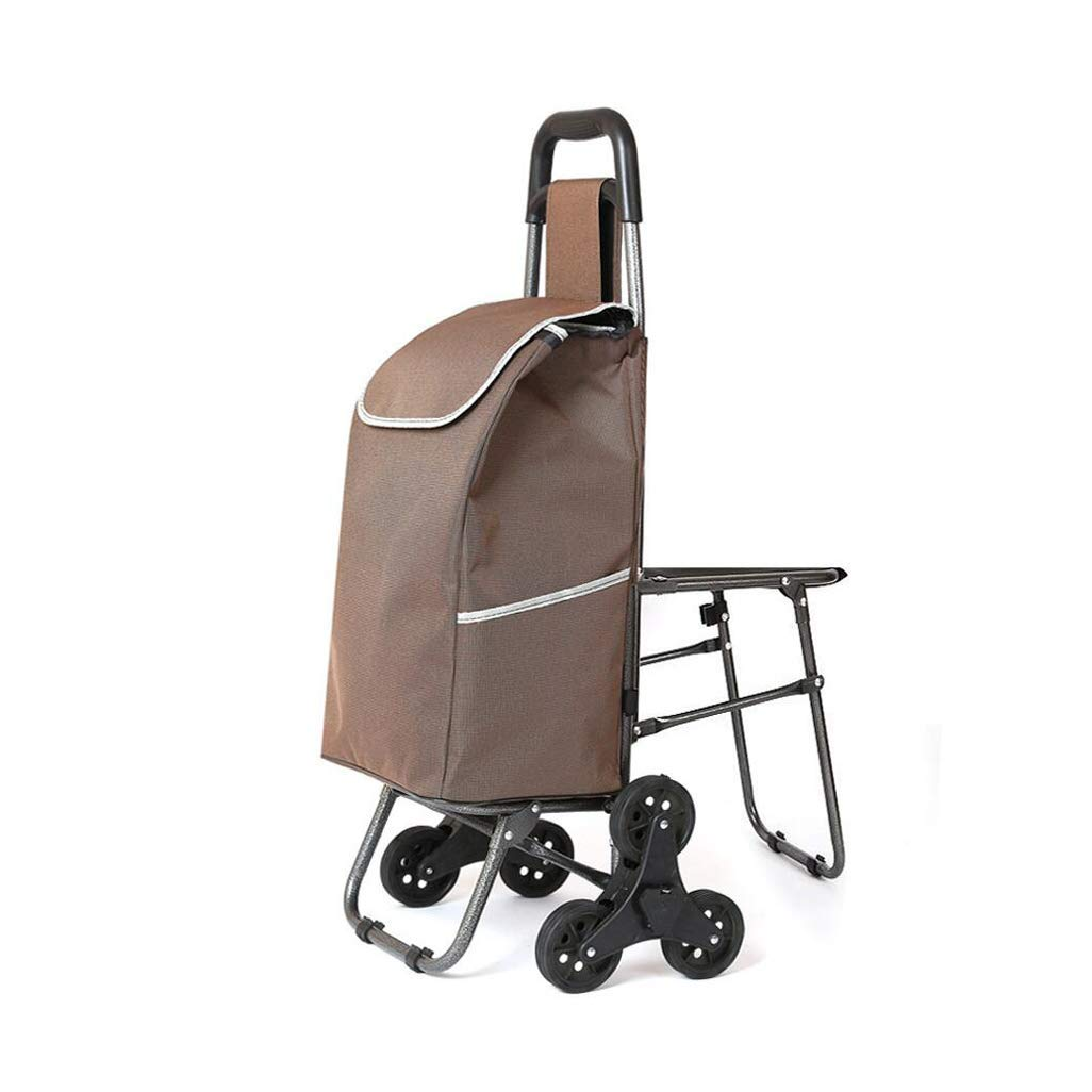 Folding Trolley, Shopping Cart Climbing Stairs Shopping Cart Old Small Cart Trolley Trolley Folding Stool (Color : D)