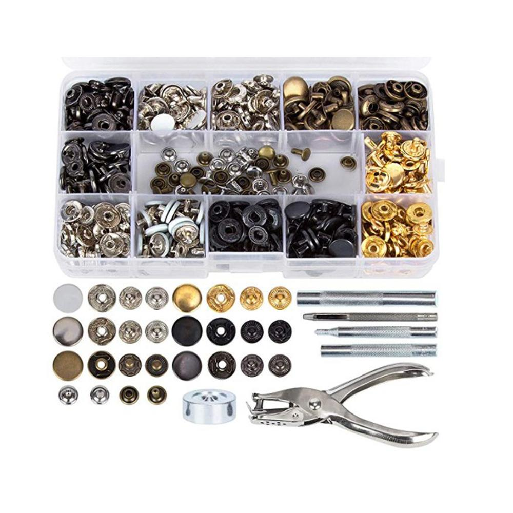 40Set Pro Leather Craft Fasteners Snaps Button Press Studs Fixing Tool Metal Kit
