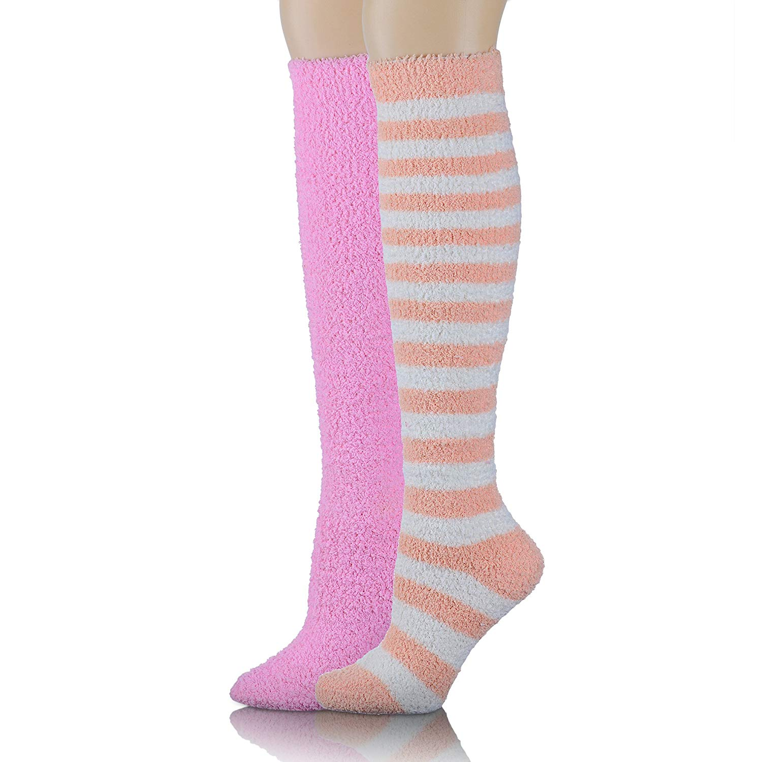4ce5db7636fc0 Get Quotations · Girls Womens Over Knee High Fuzzy Socks Stockings Fluffy  Soft Warm Cute Cozy Winter Long Christmas