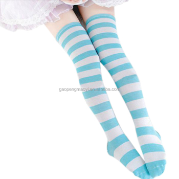 b86b151bb Hot New Sexy Women Girl Striped Cotton Over the Knee Socks Fashion Stockings  For Dating Cosplay