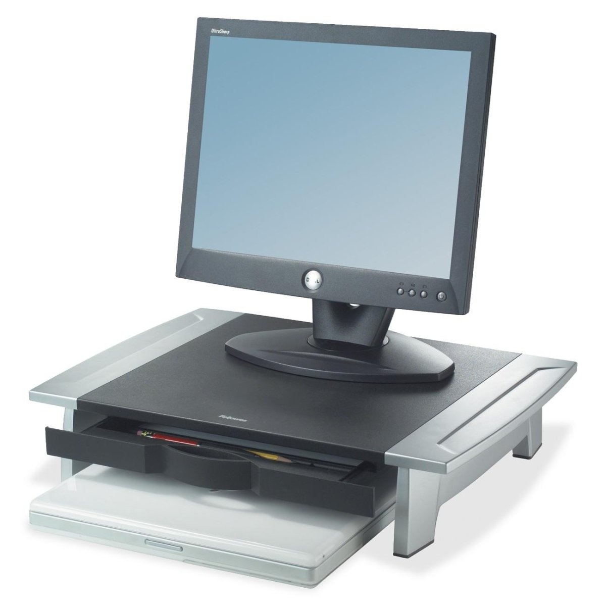 Fellowes 8031101 Office Suites Monitor Riser - Up to 21 inch Screen Support - 80 lb Load Capacity - 4.2 inch Height x 19.9 inch Width x 14.1 inch Depth - Desktop - Silver, Black