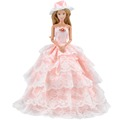 E TING Fashion Peach Doll Clothes Evening Party Dress Ballgown Hat For Barbie Dolls