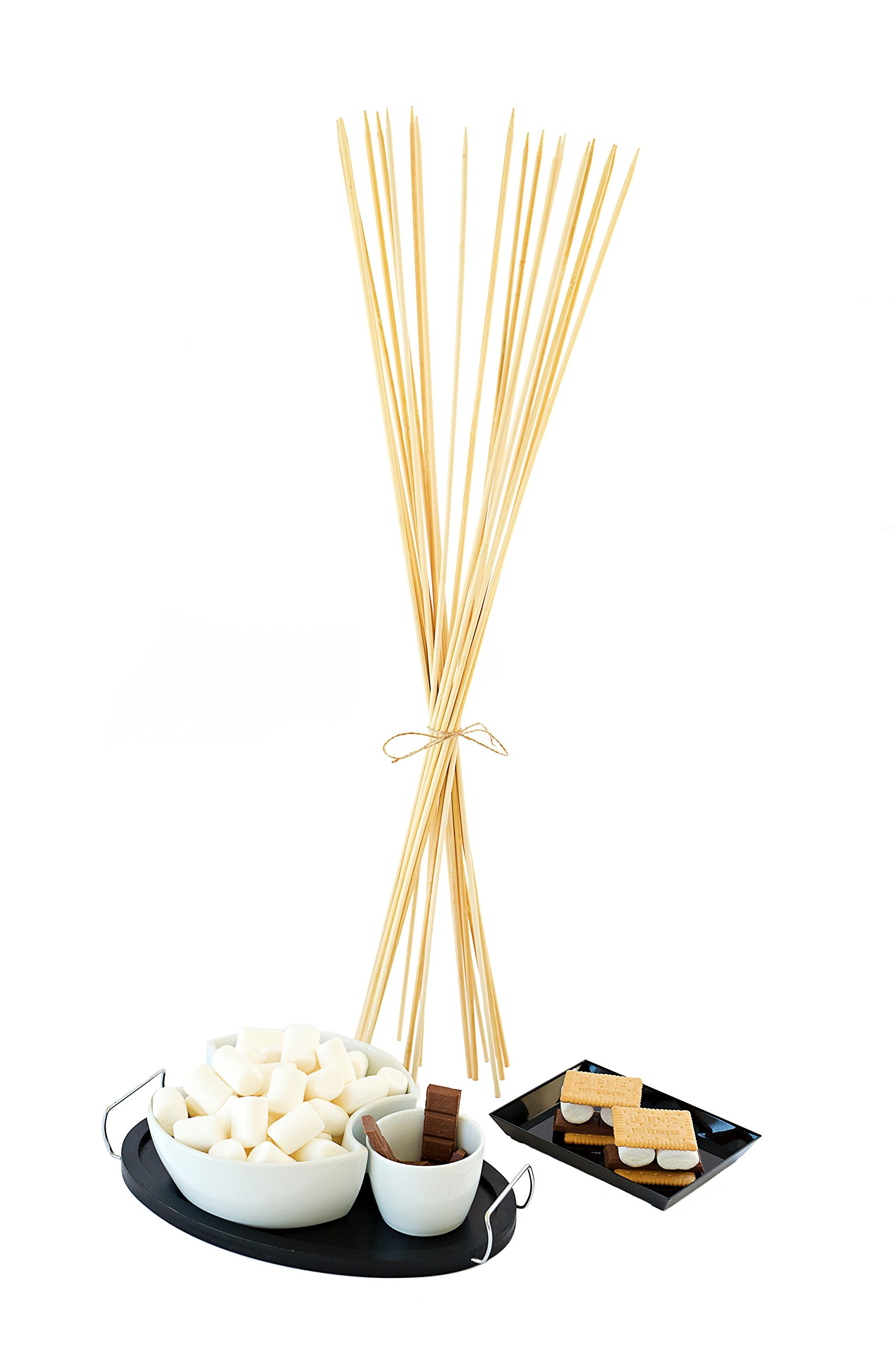 "Topie Marshmallow Roasting Sticks Bamboo Stix Smores Skewers 20 Pieces Set For Camping Cookware Campfire, Party, Bbq, Woden Accesories Hot Dog Fire Pit, Size 5mm 32"" Inches & Roasting Ebook"