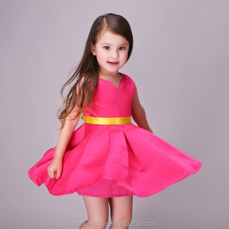 2016 Diseño Único Del Cuello Vestidos Vestido De Lujo Para Las Niñas ...