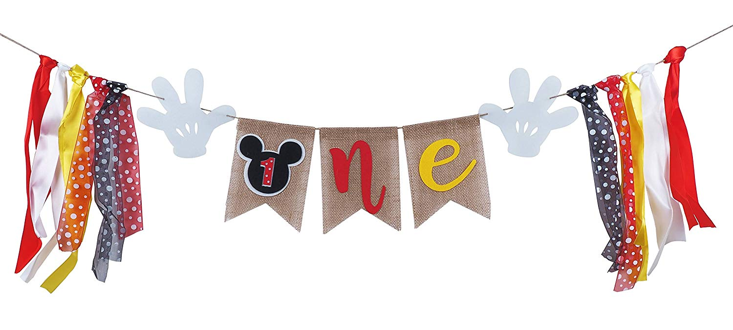 Get Quotations Mickey Mouse 1st Birthday Banner Handmade First Highchair Baby Shower Party Decorations