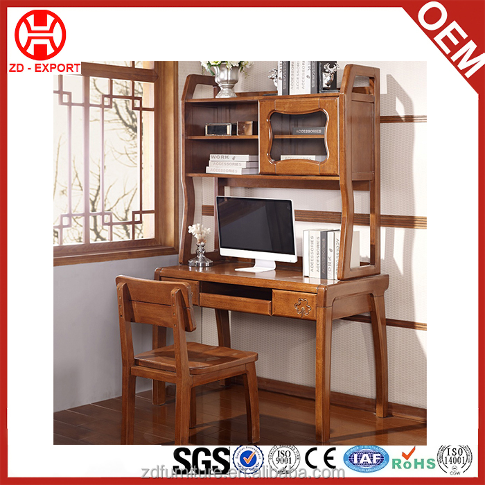 Environmental wooden design home furniture kids bookcase with study table and chair in cheap price