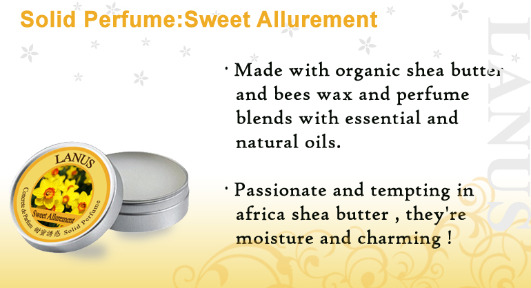 Nature ingredients essential oil moisture Solid Perfume(Sweet Allurement)