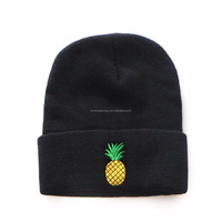 Colorful Plain Simple Beanie Knit Fruit Embroidered Beanie