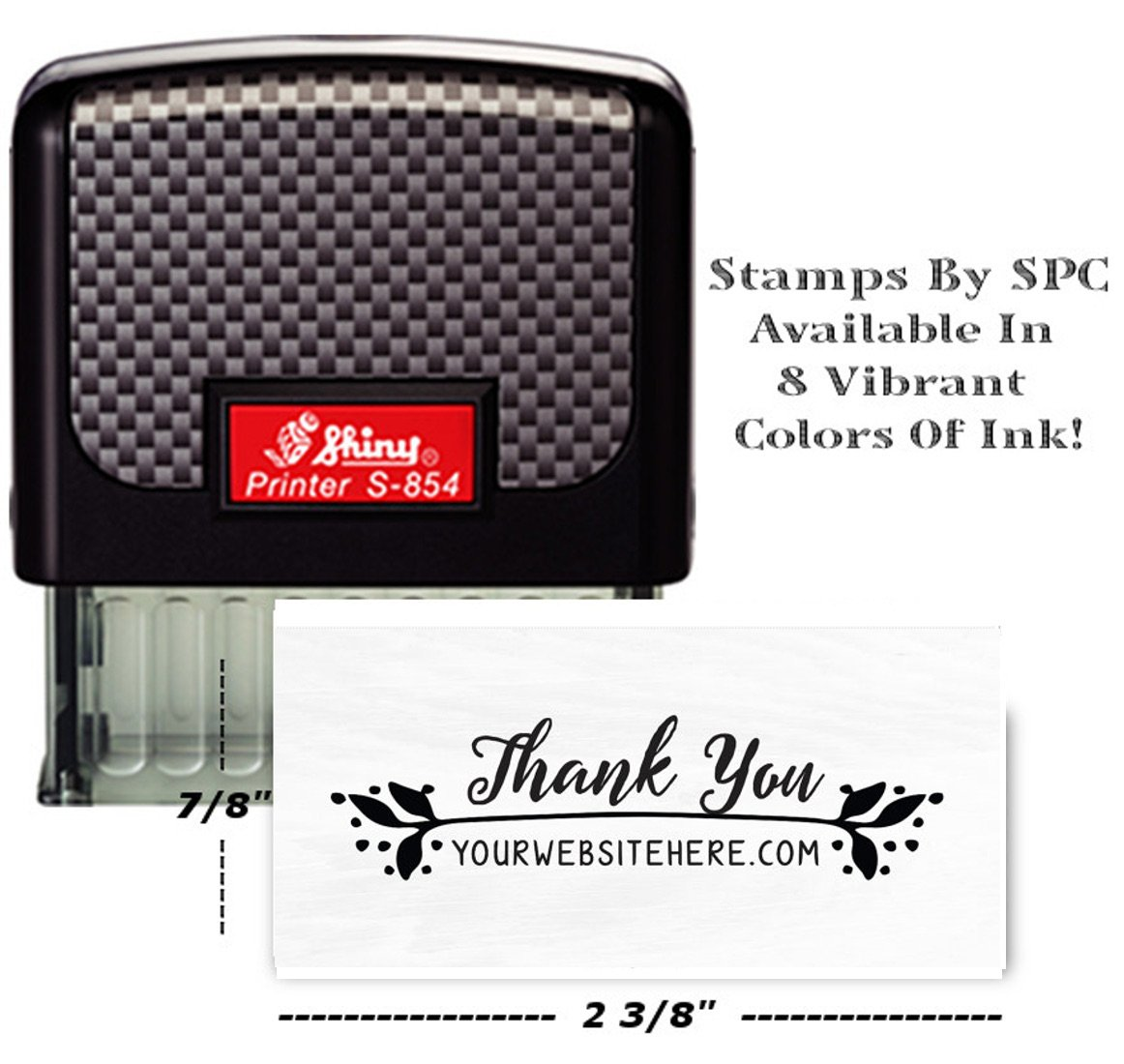 Stamps By SPC // Custom Address Stamp // DESIGN: Business Thank You With Your Website [SPC2SS] + // Perfect For Your Stamping Needs - Available In 8 Vibrant Colors!