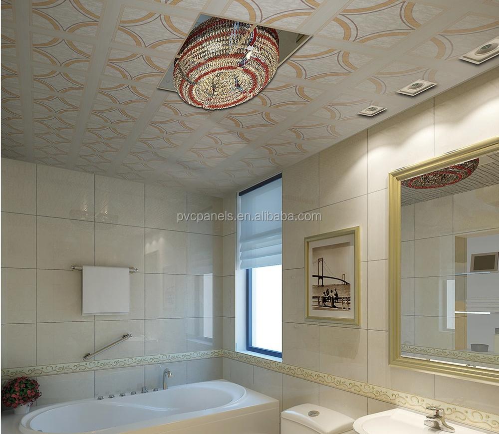 Sala de pvc falso techo baldosas blanco pvc ba o paneles - Falsos techos para banos ...