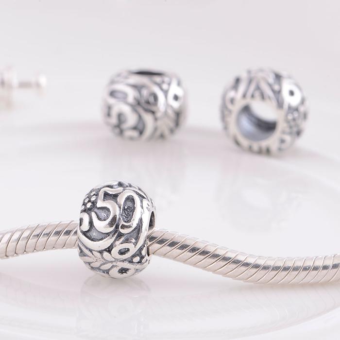 41966ca8f ... Birthday Fifty ANNIVERSARY Pandora bead Charm .925 Sterling Silver Pandora  50 Charm ...