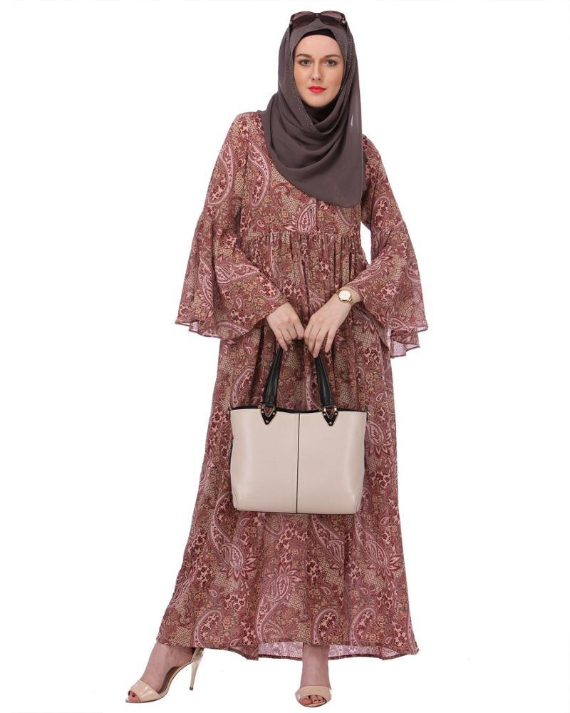Oem Blumen Druck Chiffon Damen Muslimischen Lange Kleid ...