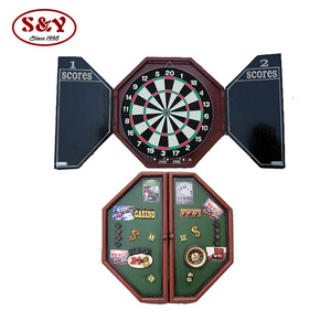 Custom wood dart board surround cabinet set for indoor game