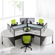 Refreshing clover shaped 3 person round workstation