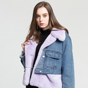 New Design Jacket with one to three style Patchwork rabbit fur coat Jeans parka