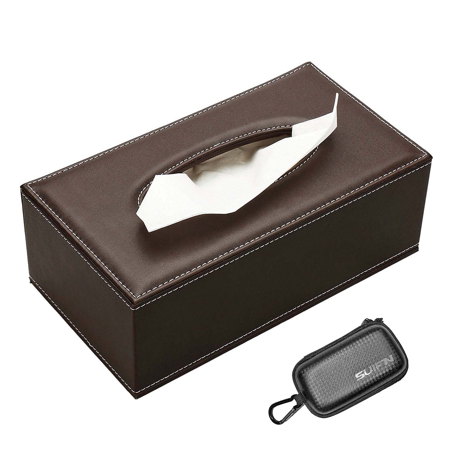 JHGJ PU Leather Rectangular Tissue Box Holder with Cover Case Tray Pumping for Home Office Car Automotive and SUIFN CASE (Brown)
