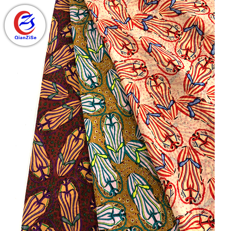 75D chiffon 100% polyester beaded printed cloth material fabric for dress