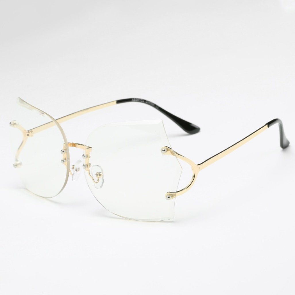 a3b7c813c4 Get Quotations · YANJING New rimless sunglasses Europe and the United  States fashion marine glasses glasses ladies sunglasses CUIYAN