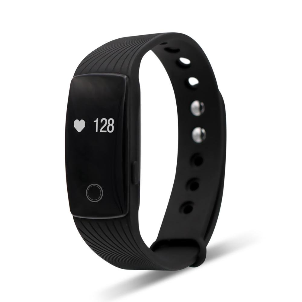 Tecomax Sport Bluetooth Smart Bracelet Wrist Band with Heart Rate Monitoring Anti- Lost Remote Camera Pedometer for Android & IOS iPhone Smart Phone - Black
