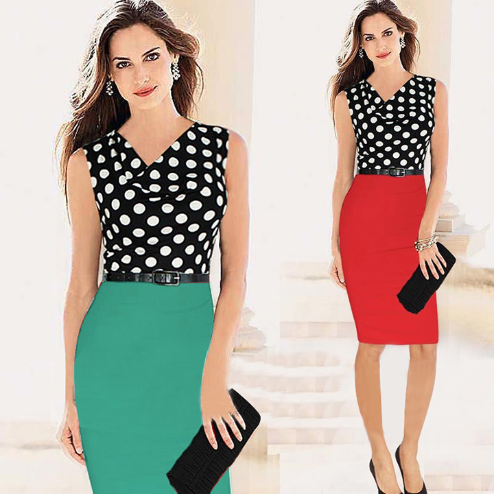 Different Designs Women's Polka Dot Draped Neck Sleeveless Color ...