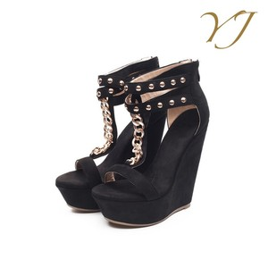 Women's Sexy Black Ankle Strap High Heel Wedge Shoes Platform Sandals