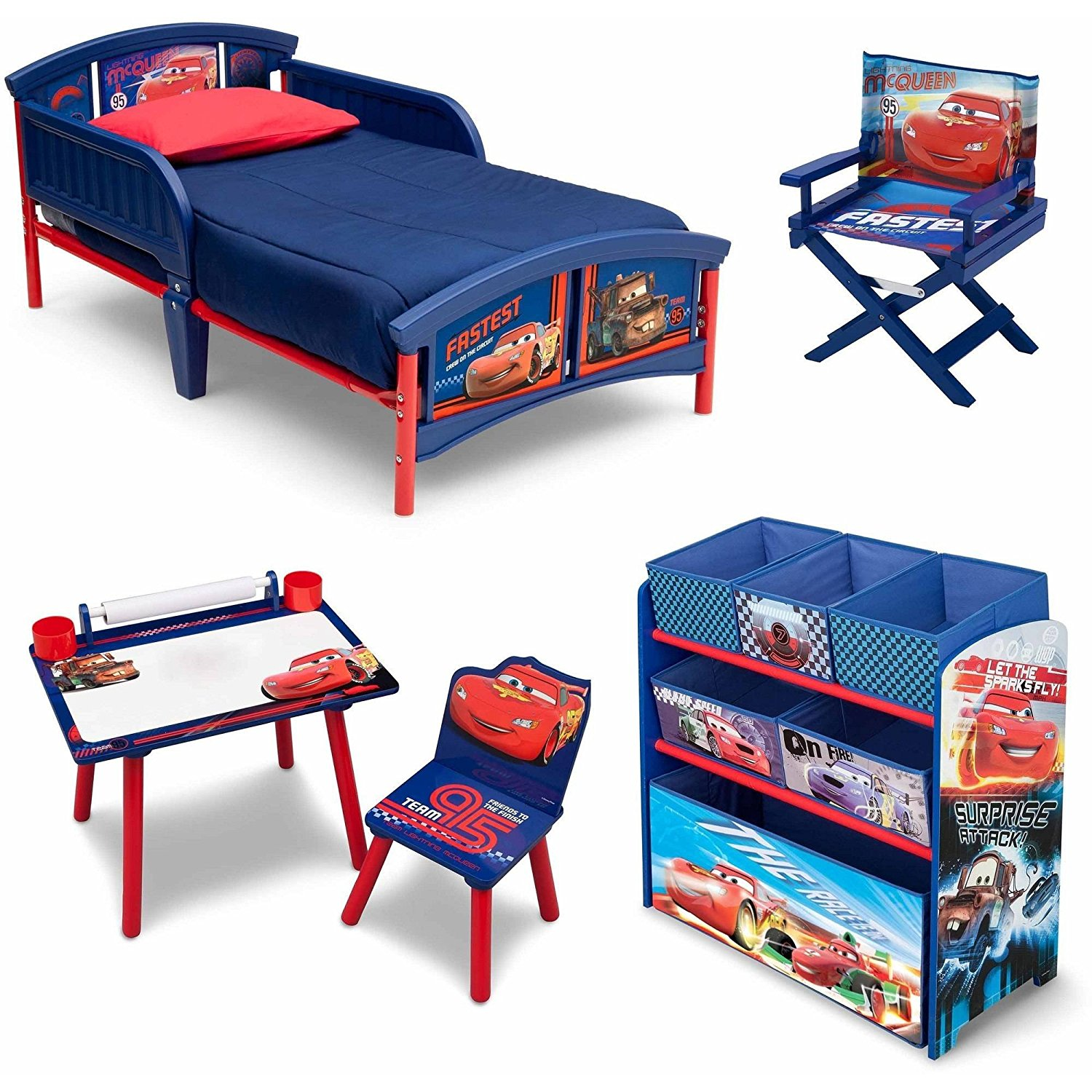 NEW! 5 Set Room-in-a-Box Toddler Bed with Safety Rails Multi-Bin Toy Organizer with Six Fabric Toy Box Table and Chair Art Desk Set, Plus Director's Chair (Disney Cars)