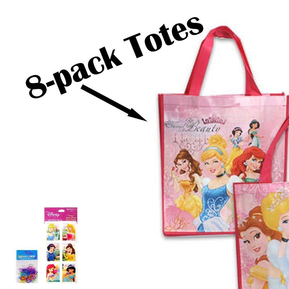 """8-pack Disney Princess Tote Bags Ethernal Beauty (15""""x14""""x6"""" Woven Reusable) AND 8 Disney Princess Stickers Sheets (3""""x6"""") AND 8 Kooky Silicone Bracelets"""