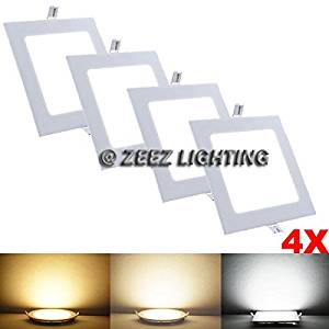 "4X 18W 9"" Square Warm White LED Recessed Ceiling Panel Down Light Bulb Slim Lamp ..(from#_xenon-hid-worlds__JENT58400976480037"