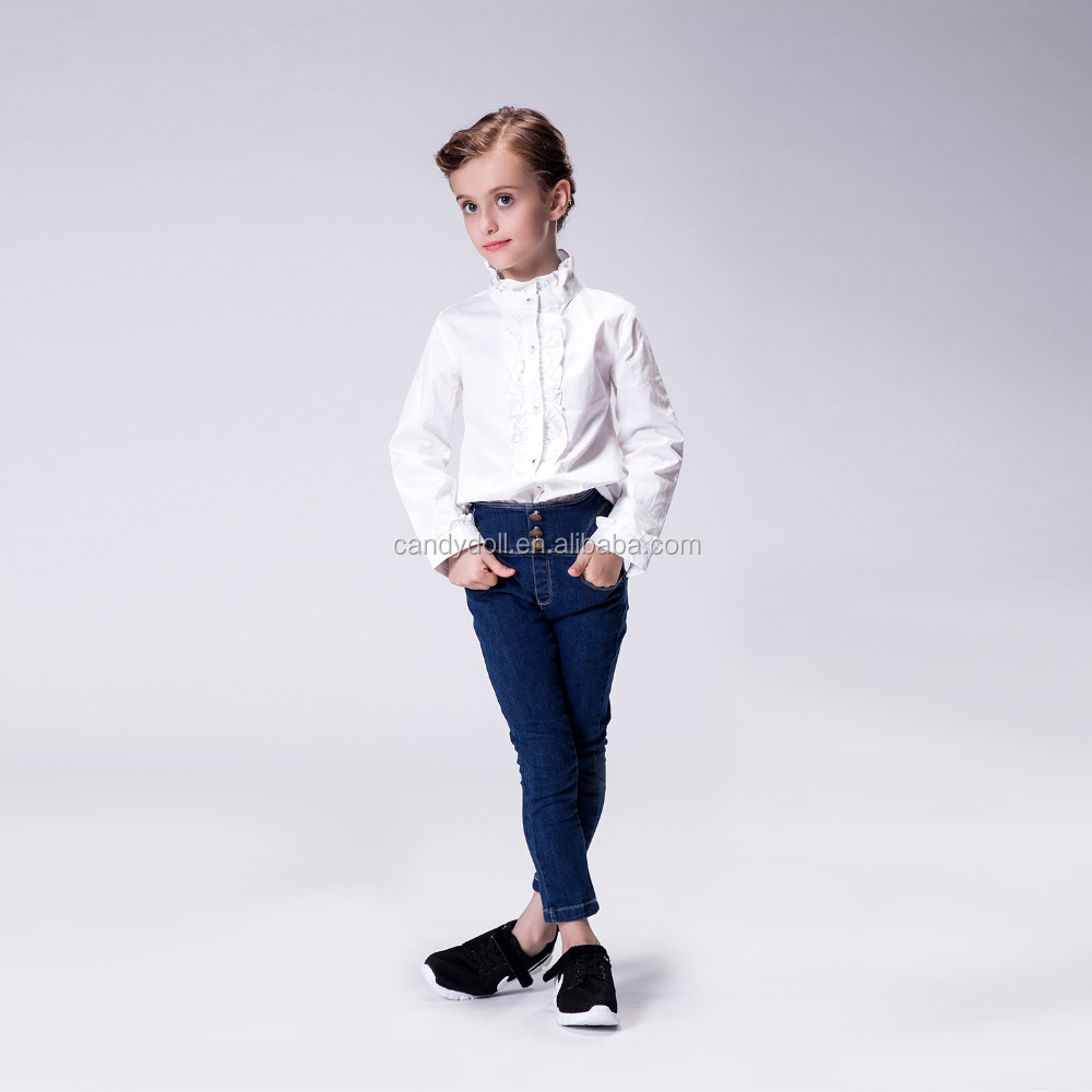 2017 New Fashion Autumn Baby Girl Latest Casual Jeans Tops Girls Wrinkled Jeans