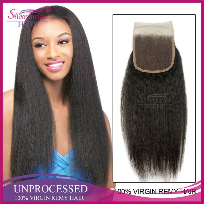 Free parting lace closure kinky straight yaki human brazilian hair weave human hair frontal closures