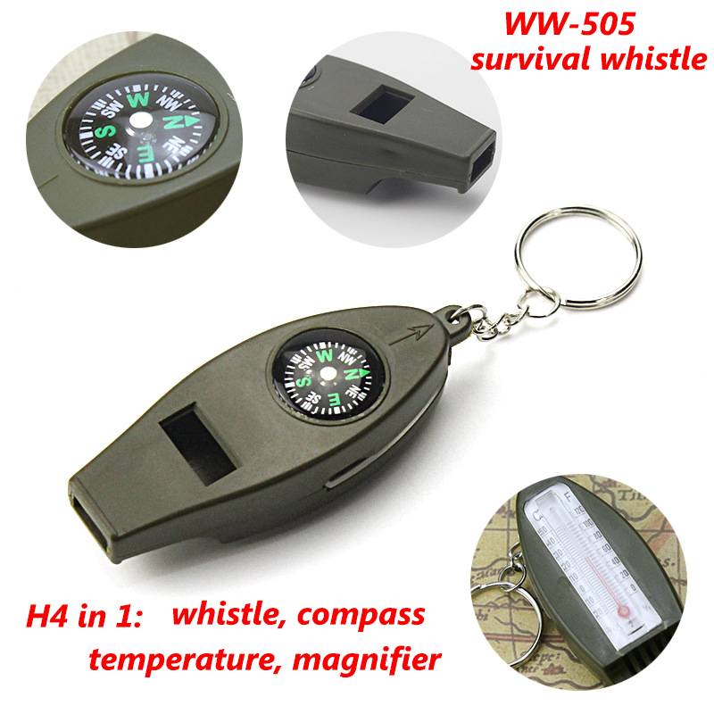 WW505 H4-1 Multy Function Survival Whistle Compass Thermometer magnifier 4 in 1 plastic green whistle with keychain