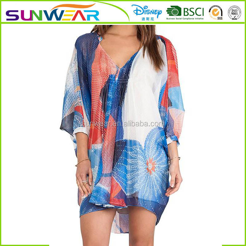 2016 Sexy BIKINI Swimwear blouse women Beachwear Cover ups loose BLOUSE Summer Shirt Dress